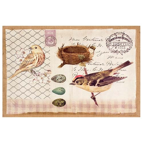 Tela Linho 2 Pássaros com Ninho e Ovos Oldway - 60x90 cm