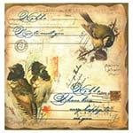 Tela Linho 3 Pássaros postal Oldway - 120x120 cm