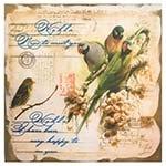 Tela Linho 4 Pássaros Cartão Postal Oldway - 120x120 cm