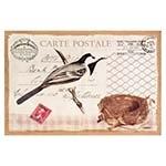 Tela Linho Carte Postale Pássaro Azul Oldway - 60x90 cm