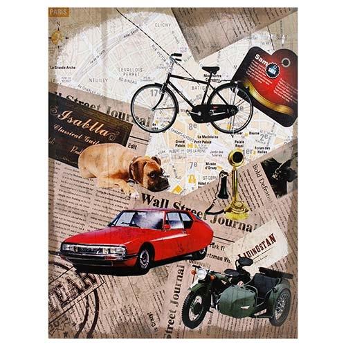 Tela Linho Imagem Carro Vermelho Oldway - 80x60 cm