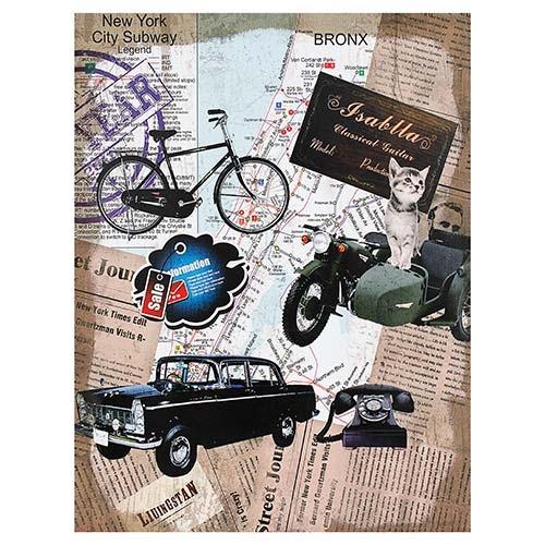 Tela Linho Imagens Carro Preto Oldway - 80x60 cm