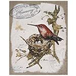Tela em Linho Pássaros no Ninho Oldway - 50x40 cm