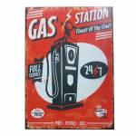 Tela Loft Gas Station Fundo Vermelho em MDF - Urban - 70x50 cm