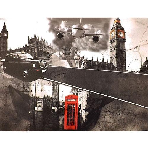 Tela Londres Telephone/Big Ben - Impressão Digital - 50x40 cm