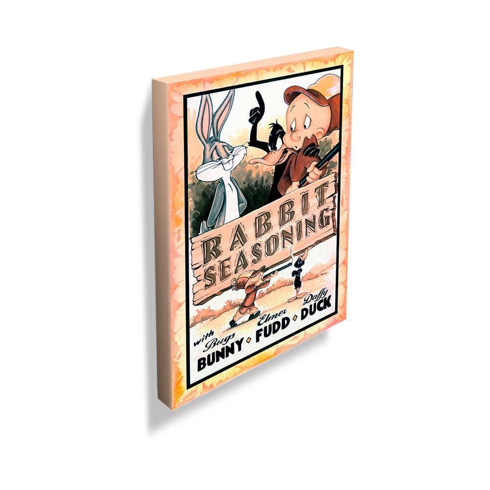 Tela Looney Rabbit Seasoning Movie Poster Colorido em Madeira - 70x50 cm