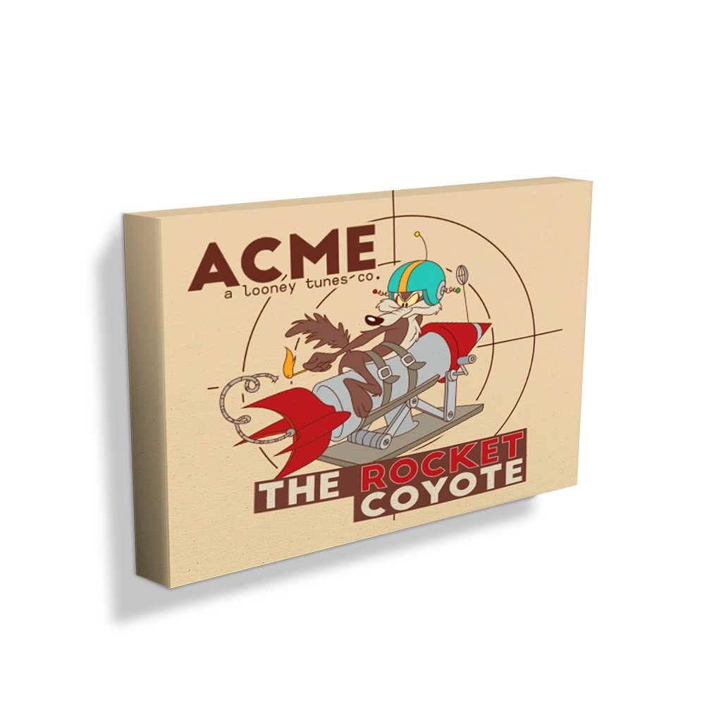 Tela Looney Tunes Acme The Rocket Coyote Fundo Bege em Madeira - 50x30 cm