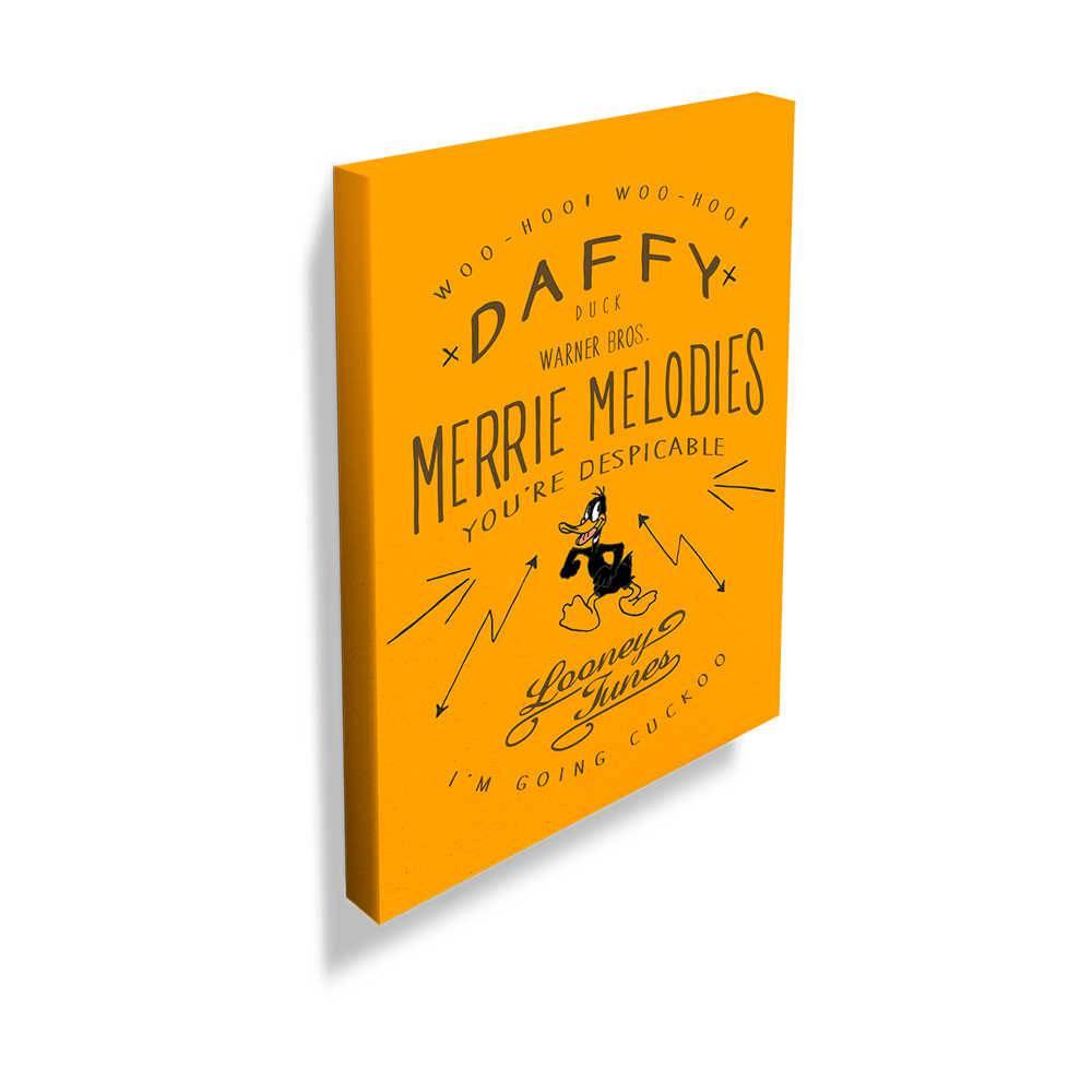 Tela Looney Tunes Daffy Duck Merrie Melodies Amarela em Madeira - 70x50 cm