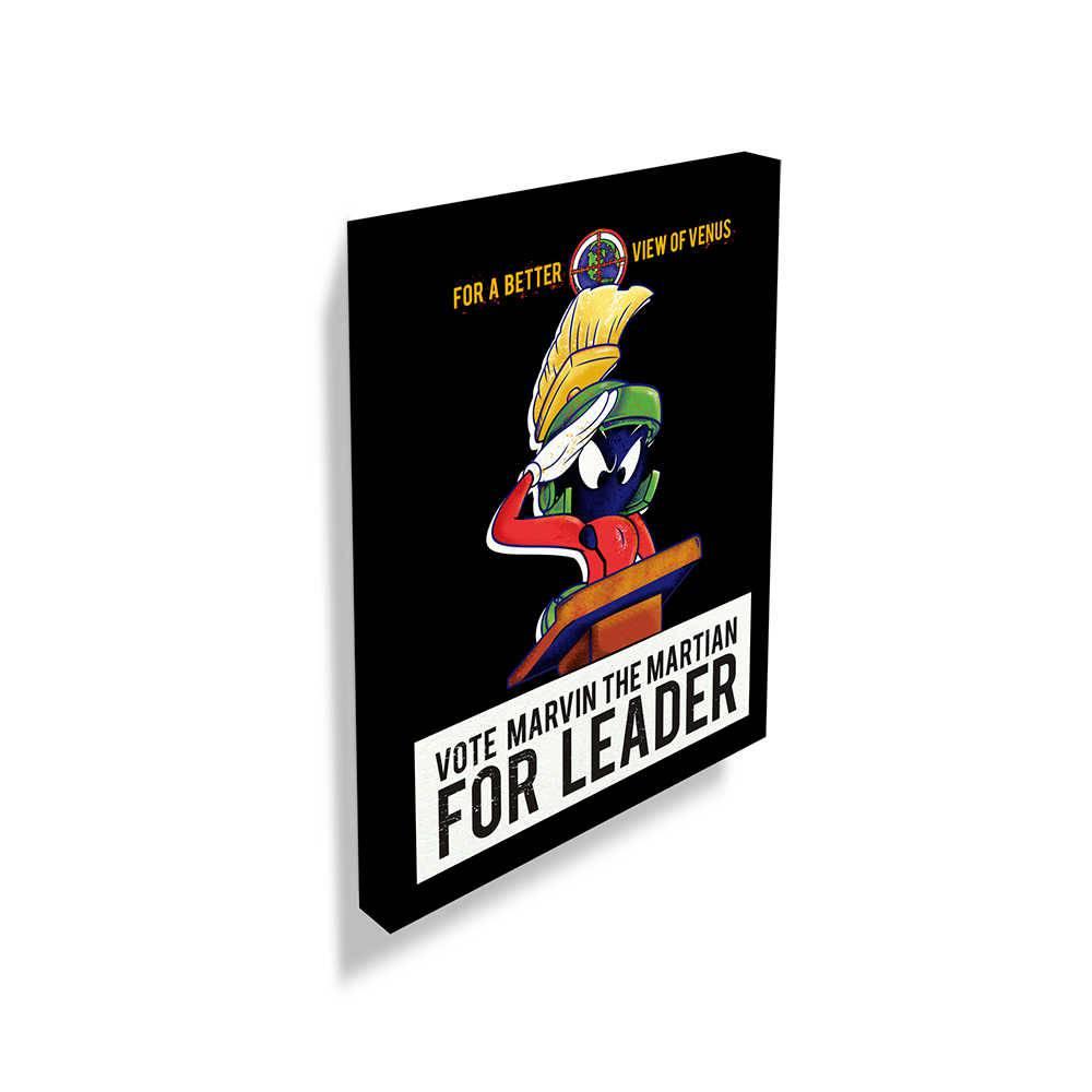 Tela Looney Tunes Marvin Vote For Leader Preto em Madeira - 70x50 cm
