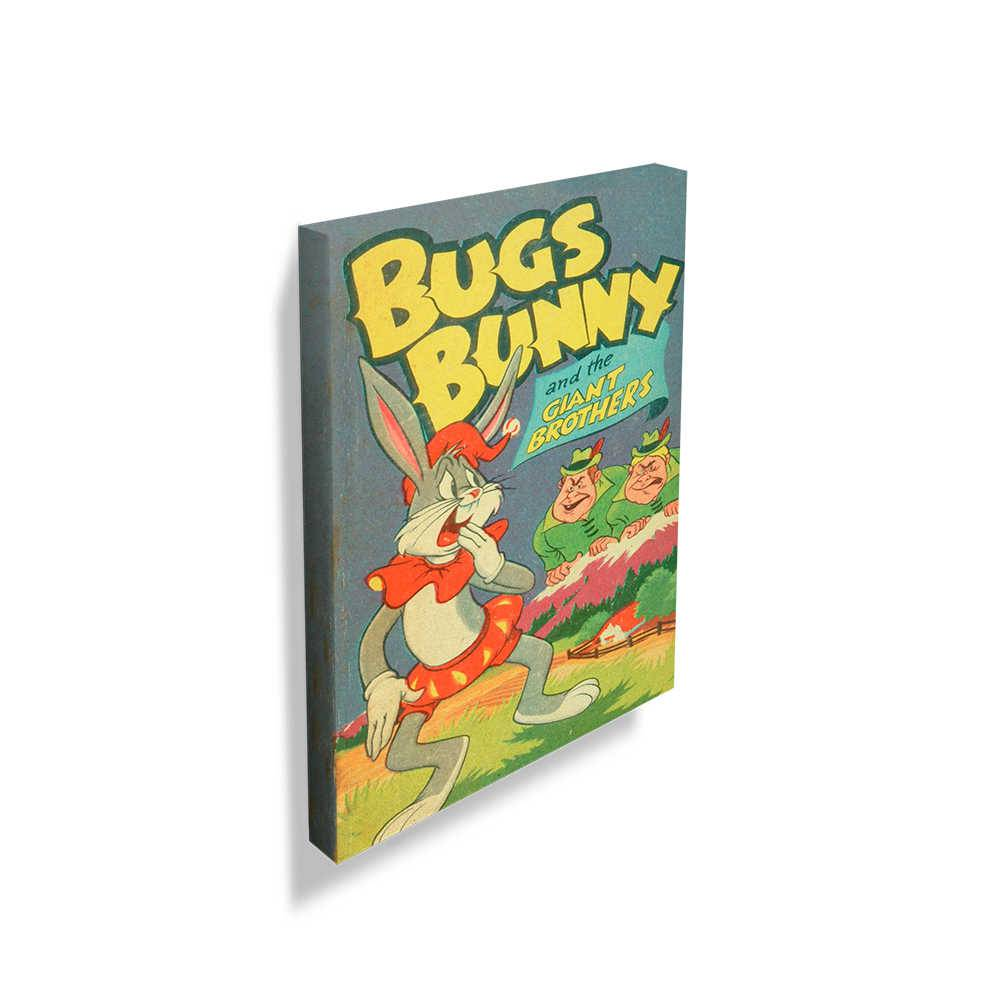 Tela Looney Tunes Vintage Collection Bugs Bunny And The Giants Colorido em Madeira - 70x50 cm