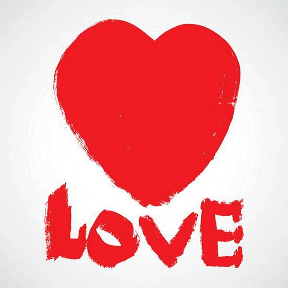Tela Love com Coração Vermelho em MDF - Urban - 60x60 cm