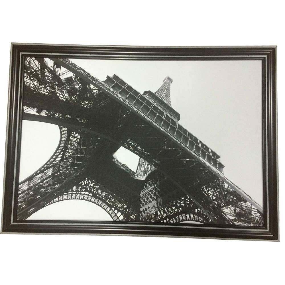 Tela Com Moldura Dark Eifel Tower Preta em MDF - Urban - 70x50 cm