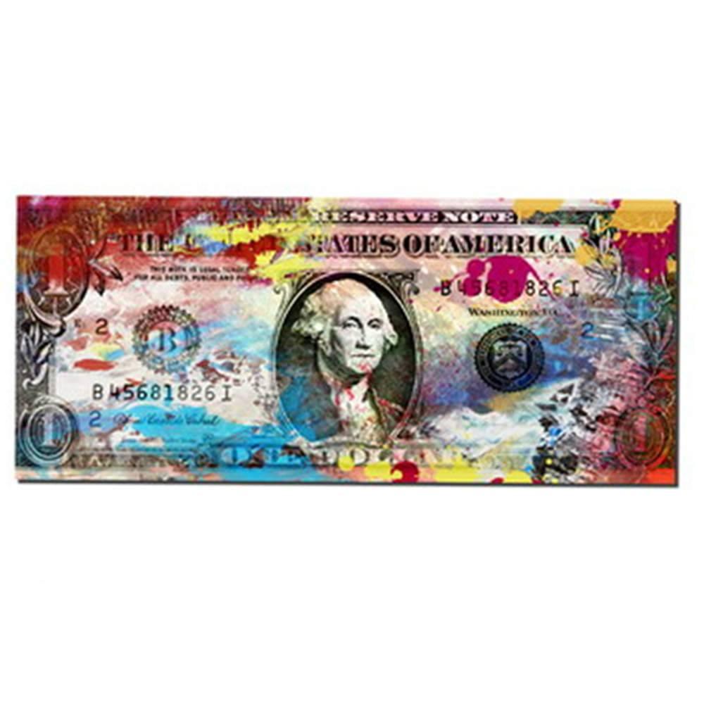 Tela Money Style Dolar Colorido em MDF - Urban - 120x60 cm