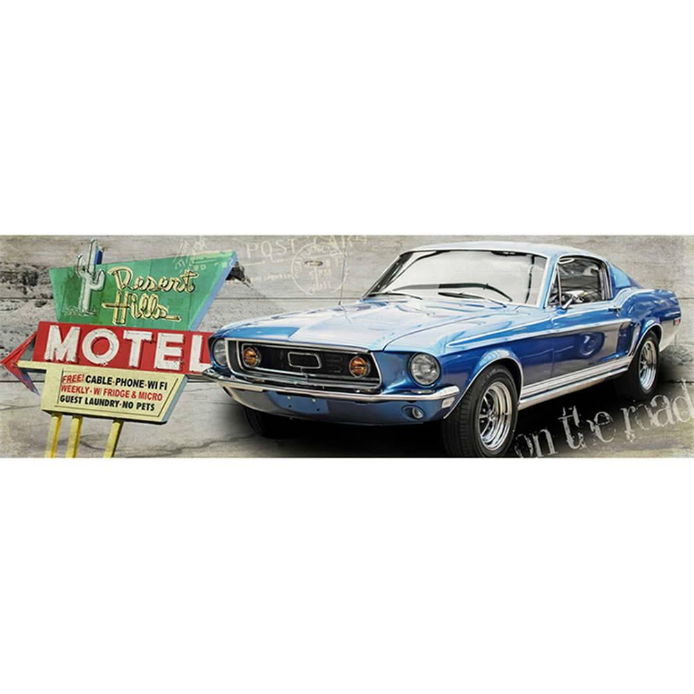 Tela Motel Plaque and Blue Car Fundo de Madeira Cinza em MDF - Urban - 140x45 cm