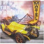 Tela Motel Signed Led Carro Amarelo em MDF - Urban - 80x80 cm
