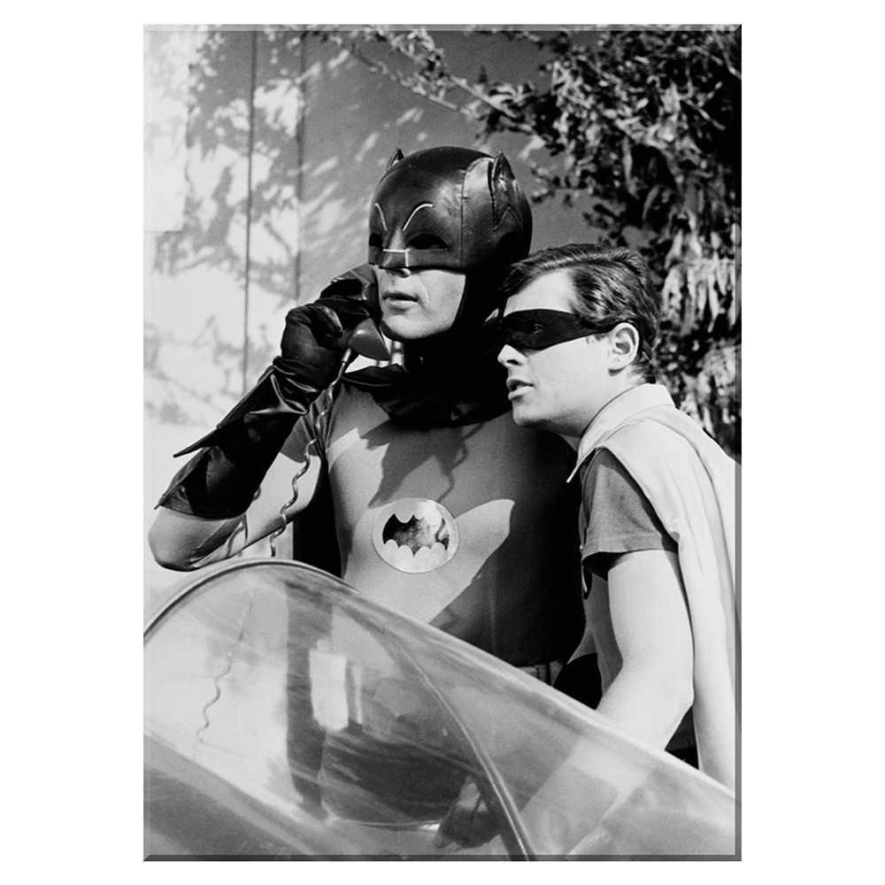 Tela Movie Batman and Robin Alert Preta e Branca em Madeira - Urban - 70x50 cm