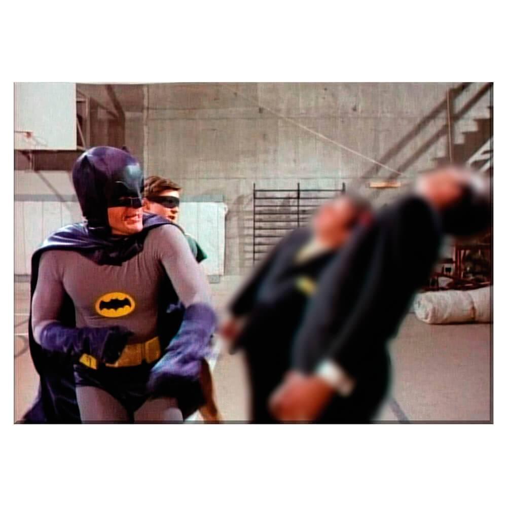 Tela Movie Batman and Robin Fighting Black Ties Guys em Madeira - Urban - 70x50 cm