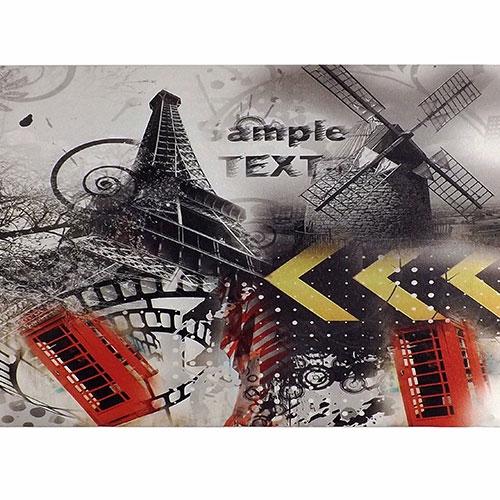 Tela Paris Torre Eiffel Ample Text - Impressão Digital - 40x30 cm