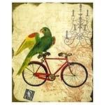 Tela Pássaro Bike Vermelha Oldway - 110x90 cm