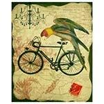 Tela Pássaro na Bike Verde Oldway - 110x90 cm