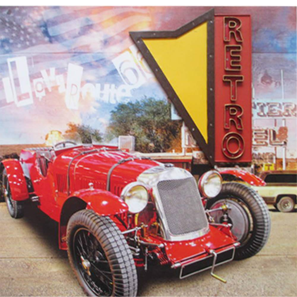 Tela Retro Sign Led Calhambeque Vermelho em MDF - Urban - 80x80 cm