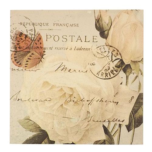 Tela Rosas Brancas / Carta Postal - Impressão Digital - 30x30cm