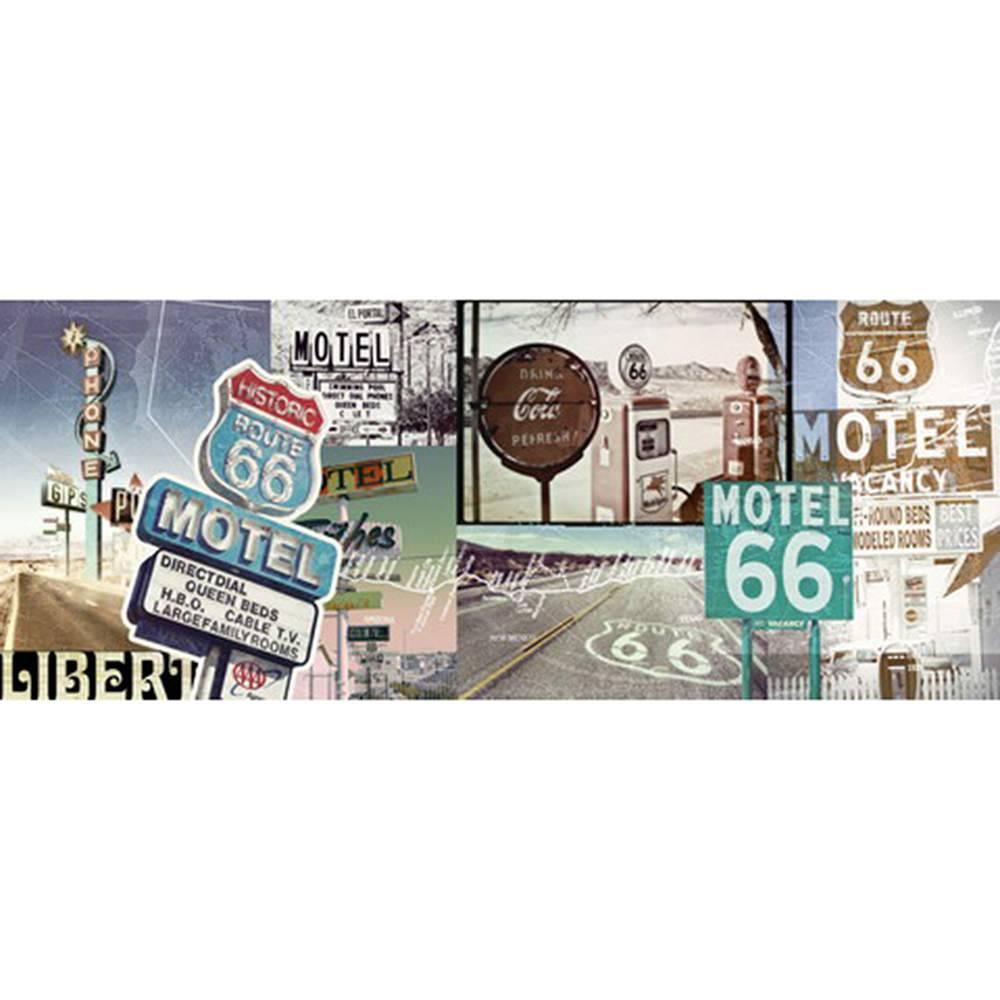 Tela Route e Motel 66 Colorida em MDF - Urban - 150x60 cm
