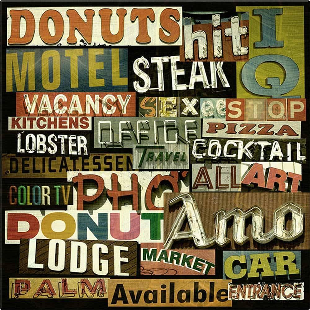 Tela Signs Donuts Fundo Preto em MDF - Urban - 40x40 cm
