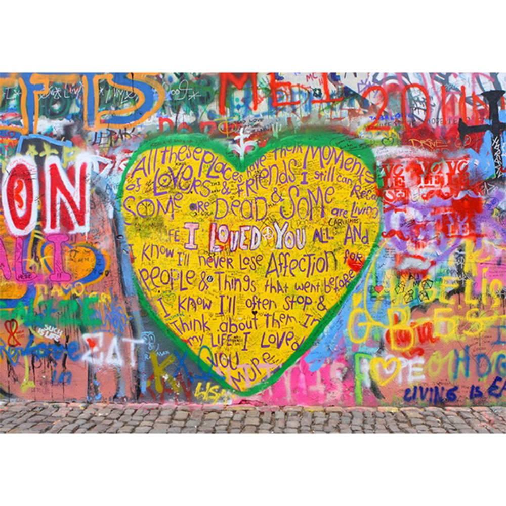 Tela Street Art Big Yellow Heart Colorida em MDF - Urban - 70x50 cm
