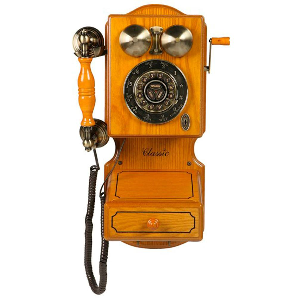 Telefone Classic Bell em Madeira - 46x28 cm
