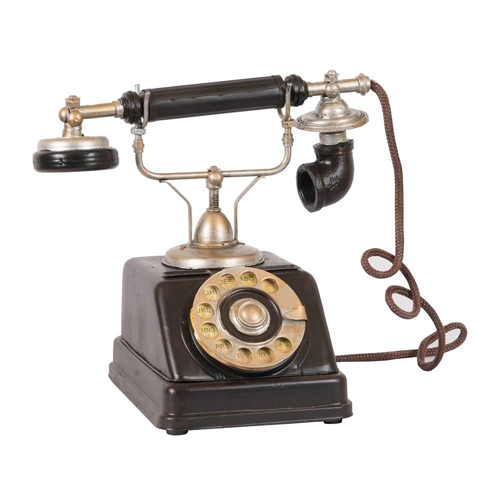 Telefone Decorativo Modelo 1918 Danish Phone Preto em Ferro - 24x23 cm