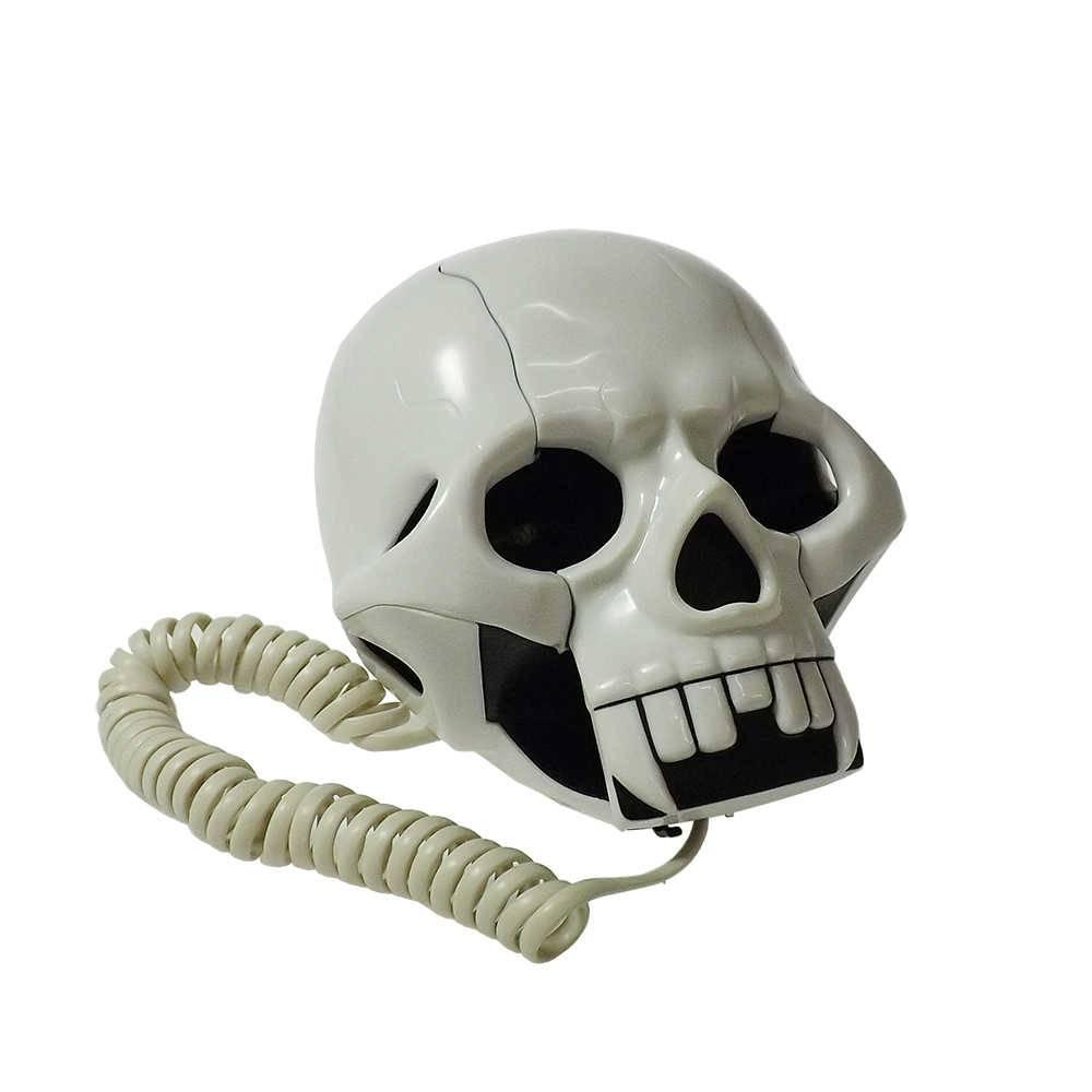 Telefone com Fio Caveira Branca - 16x16 cm