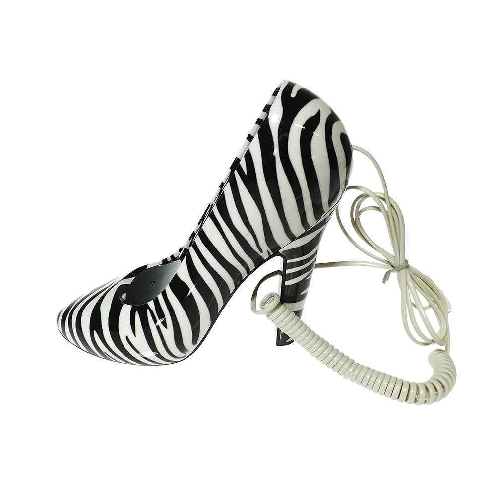 Telefone com Fio Sapato Preto e Branco - Zebra - Animal Print - 23x16 cm