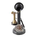 Miniatura de Telefone Retrô Preto e Bronze Velho Oldway em Metal - 30x16 cm