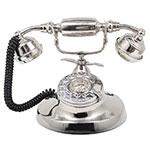 Miniatura de Telefone com Fio Retrô Clássico Prata Niquelado Oldway - 22x16 cm