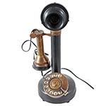Telefone Castiçal com Fio Retrô Dourado e Preto Oldway em Metal - 30x12 cm