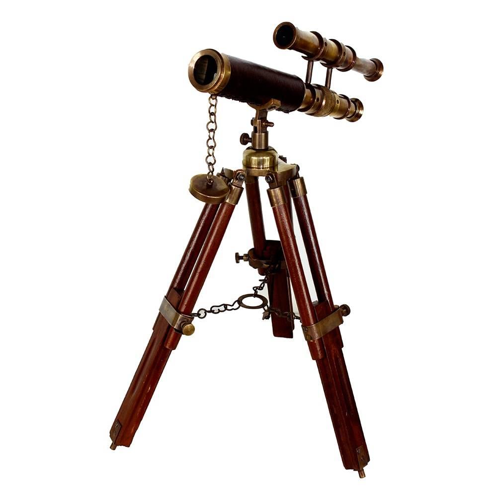 Telescópio Decorativo em Bronze e Madeira Oldway - 19x11 cm