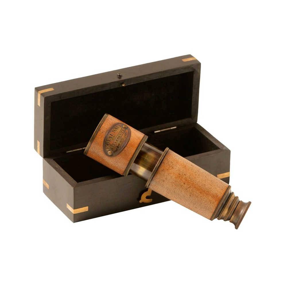 Telescópio Royal Navy em Bronze com caixa em Madeira - 16x7 cm
