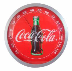 Termômetro Coca-Cola Garrafa Redondo em Madeira - Urban