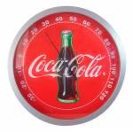 Termômetro Coca-Cola Garrafa Redondo Vermelho em Madeira - Urban - 28x28 cm