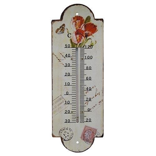 Termômetro de Parede Três Tulipas Vermelhas Oldway em Ferro - 30x10 cm