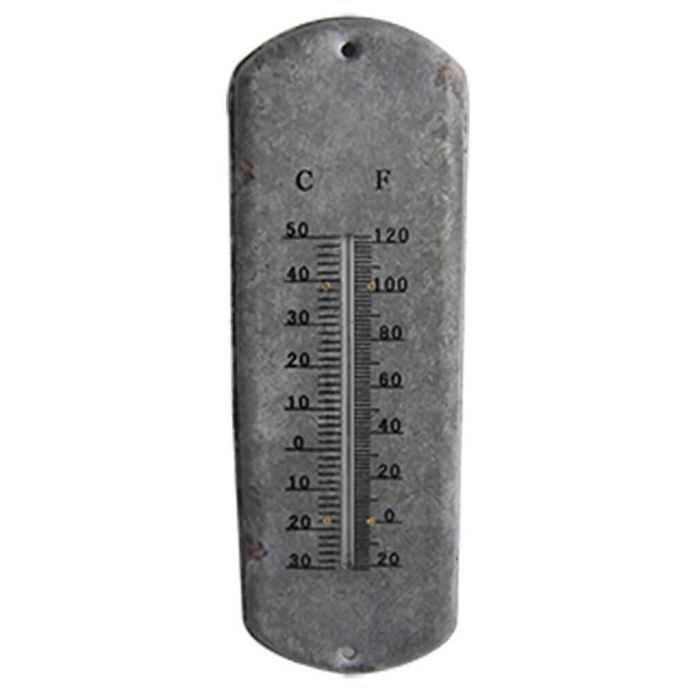 Termômetro Long Board Style Cinza em Ferro - Urban - 30,5x10,5 cm