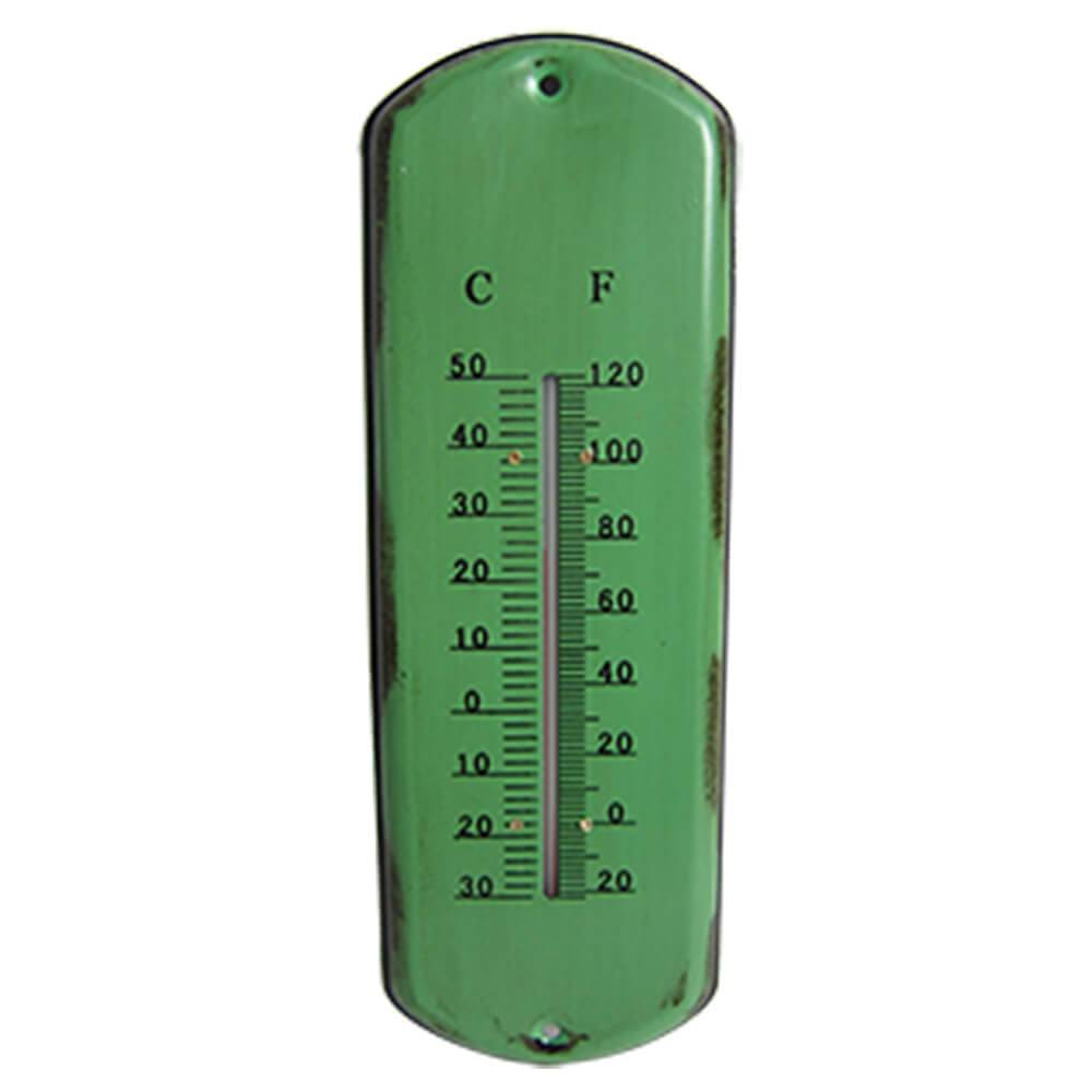 Termômetro Long Board Style Verde em Ferro - Urban - 30,5x10,5 cm