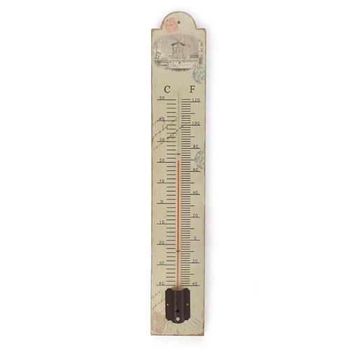 Termômetro de Parede Moinhos Bege Oldway em Metal - 60x10 cm