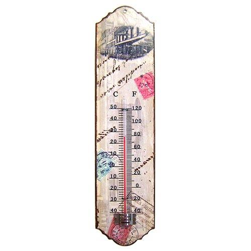 Termômetro de Parede Selos Bege Oldway em Metal - 30x7 cm