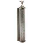 Termômetro de Parede Prata com Suporte Externo Greenway em Metal - 55x11 cm