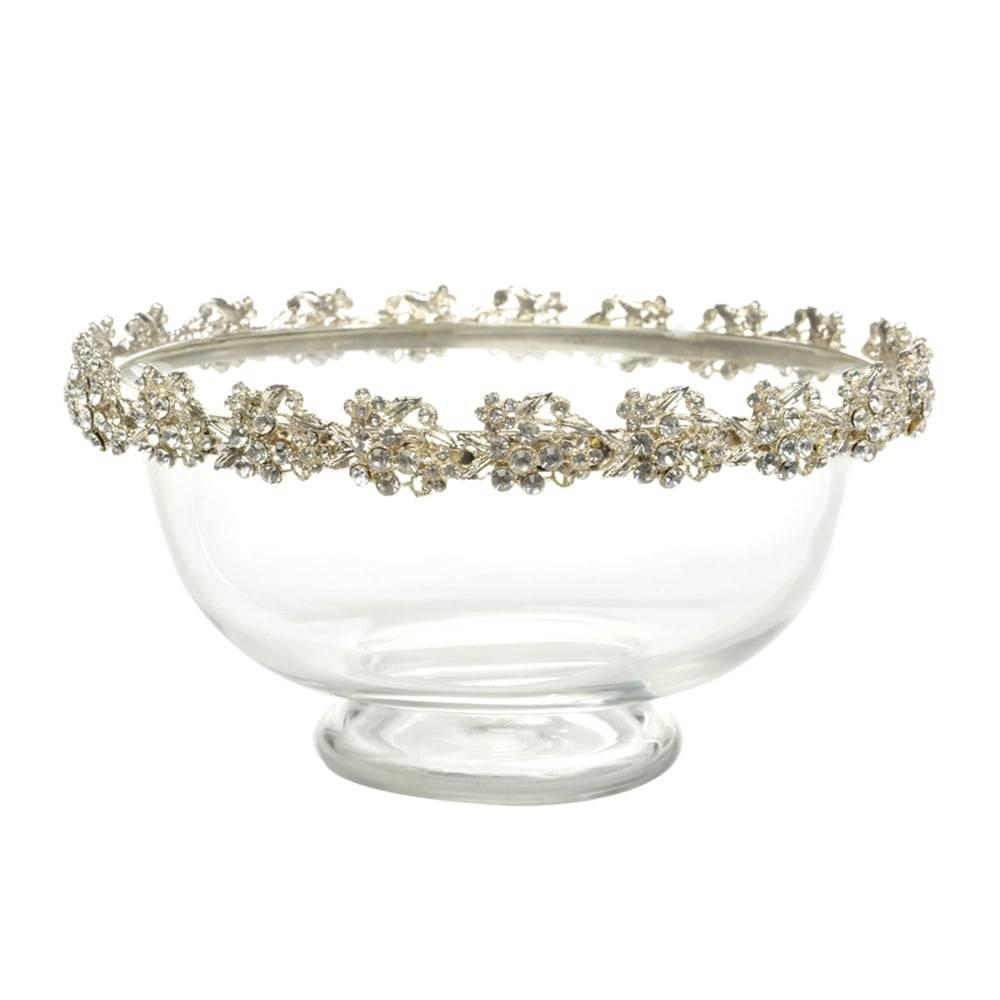 Tigela Bowl com Borda de Flores Douradas em Vidro - 20x10 cm