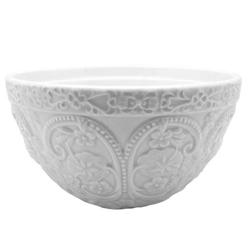 Tigela Florida Branca Grande em Cerâmica - 22x22 cm