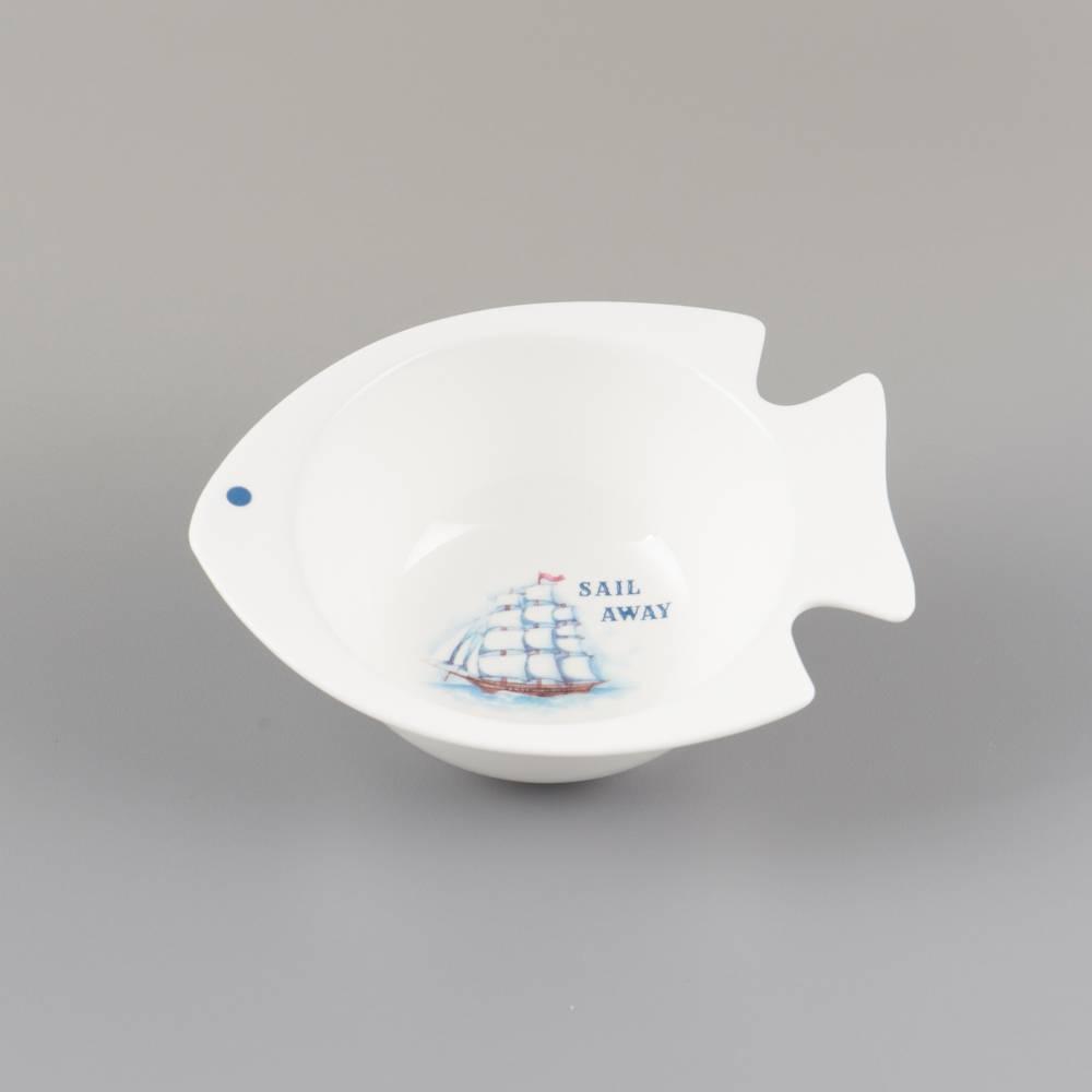 Tigela Peixinho Branca em Porcelana - 13,4x11,4 cm