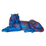 Tigre de Bengala Deitado de Resina Blue Fullway -  20x41x17 cm